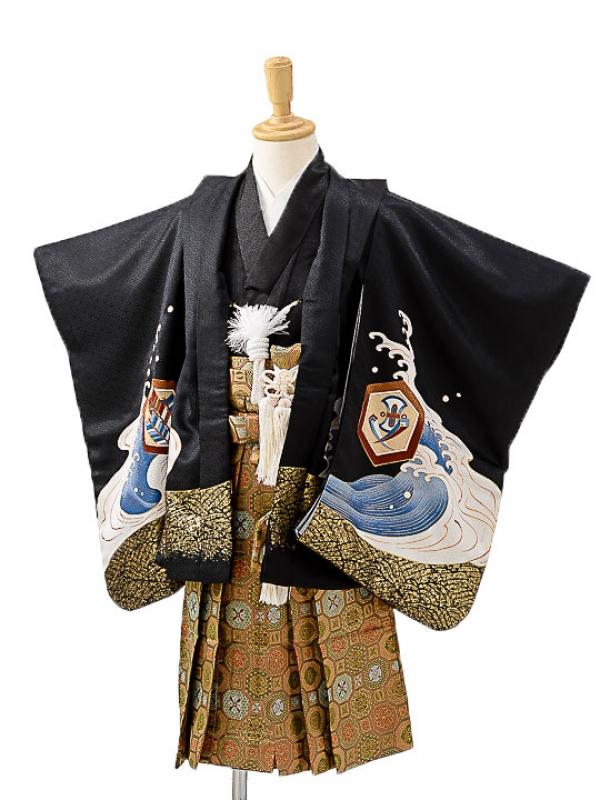 七五三(3歳男袴)sftm201黒地に宝船/蜀江紋