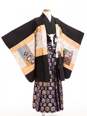 七五三(5歳男袴)sftm229黒地亀甲兜/紫亀甲