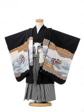 七五三(3歳男袴)sftm050黒地鷹宝船/黒縦縞