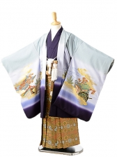 七五三(7歳男袴)sftm144グレーx紫若武者/蜀江