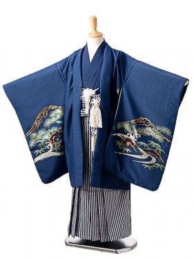 七五三(7歳男袴)sftm152紺地に箔鷲/紺縦縞