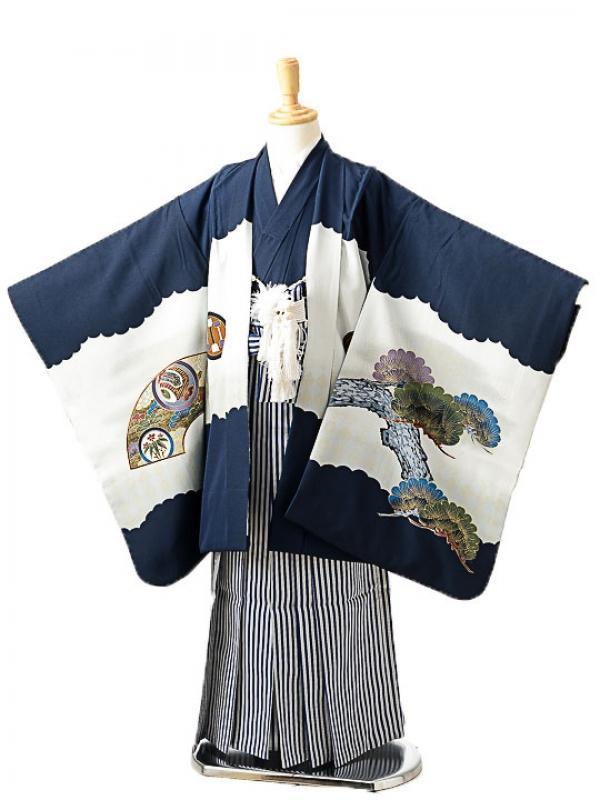 七五三(7歳男袴)sftm258紺地タカ風神/紺縦縞