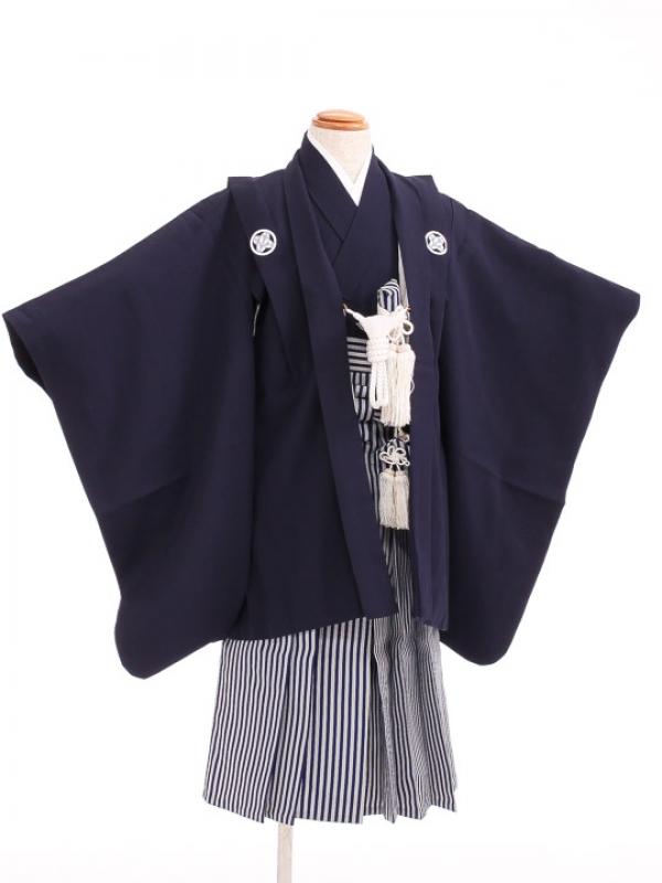 七五三(3歳男袴)sftm029しぶ紺/しぶ紺縦縞
