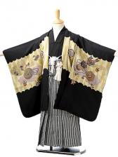 七五三(5歳男袴)sftm243黒地兜/黒仙台縦縞