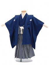 七五三(3歳男袴)sftm024紺無地/紺仙台縦縞