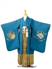 七五三(5歳男袴)sftm194藍色地風鷹/蜀江紋