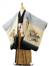七五三(7歳男袴)sftm270グレーx黒地兜/蜀江紋