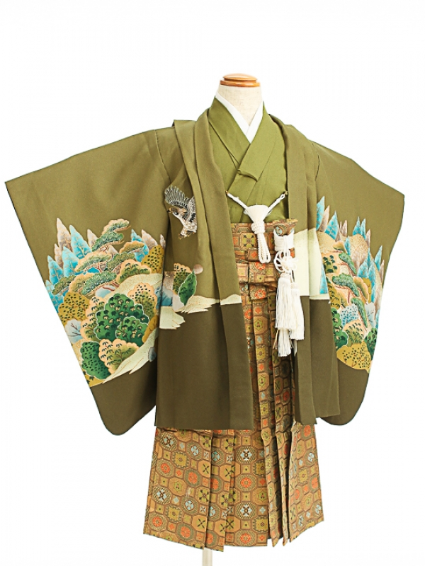 七五三(5歳男袴)sftm100グリーン地新緑鷹/蜀江
