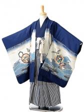 七五三(7歳男袴)sftm264紺鷹海原/しぶ紺縦
