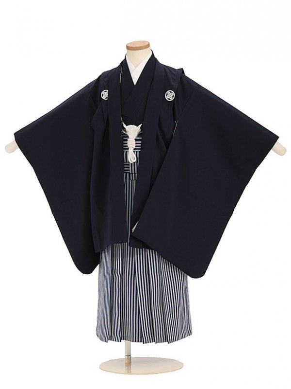 七五三(5歳男袴)sftm310しぶ紺無地/紺縦縞