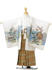 七五三(5歳男袴)sftm061白地タカ山水/蜀江