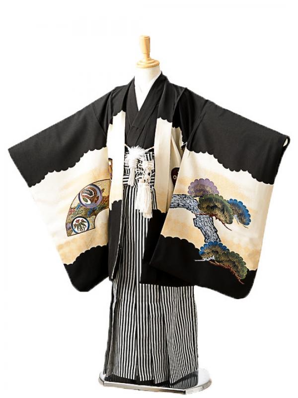 七五三(7歳男袴)sftm259黒地タカ風神/黒縦縞