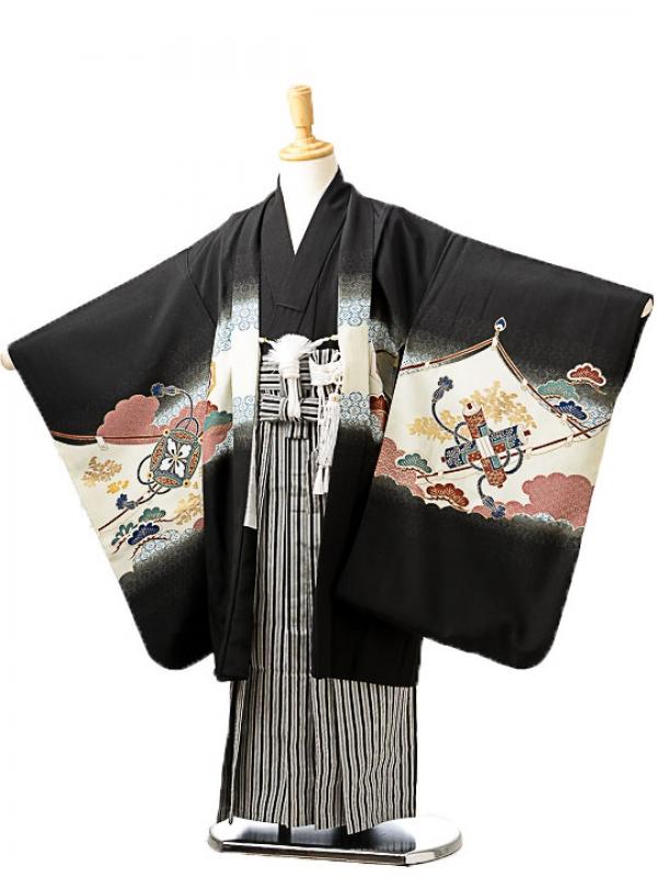 七五三(5歳男袴)sftm244黒地兜/黒子持ち縞