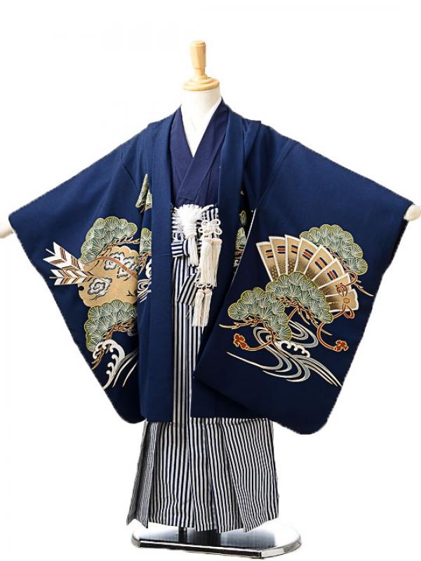 七五三(5歳男袴)sftm227濃紺鷹/しぶ紺縦縞
