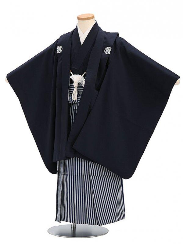 七五三(5歳男袴)sftm035しぶ紺無地/紺縦縞