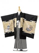 七五三(5歳男袴)sftm068黒地兜/黒仙台縦縞