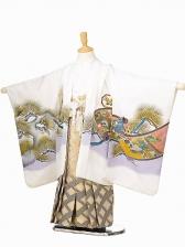 七五三(5歳男袴)sftm079白兜絵巻/菱紋ボカシ