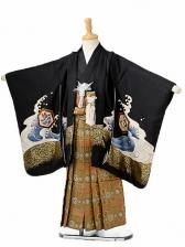 七五三(5歳男袴)sftm116黒地に宝船/蜀江紋