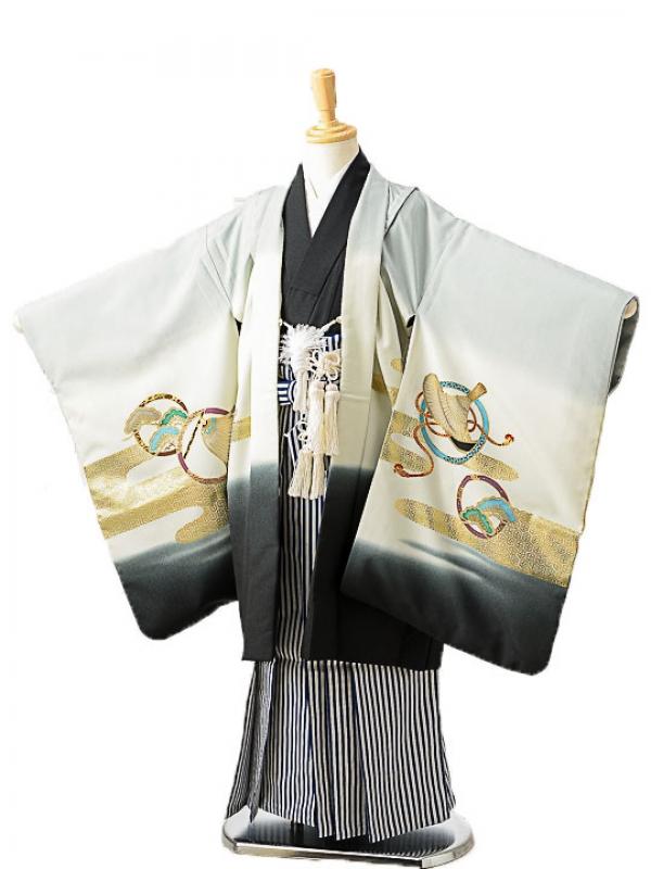 七五三(7歳男袴)sftm266グレー城兜/しぶ紺縦
