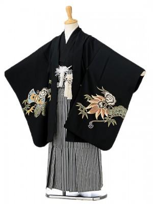 七五三(7歳男袴)sftm141黒地兜/黒仙台縦縞