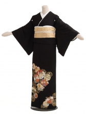 黒留袖レンタルQ5-64丸紋花柄