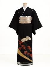 黒留袖レンタル5195扇面手竹