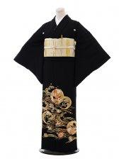 黒留袖レンタル5261波に祝い柄刺繍