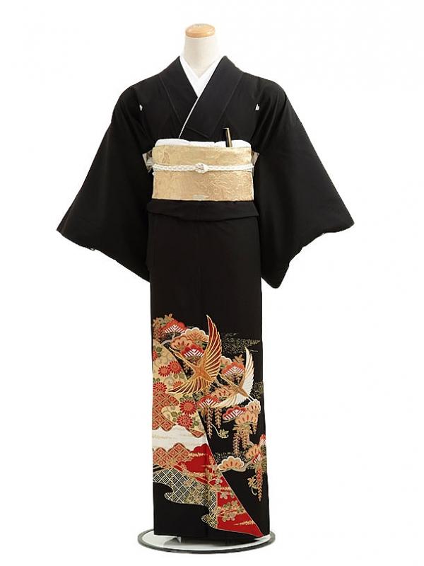 黒留袖レンタルC5009親子鶴
