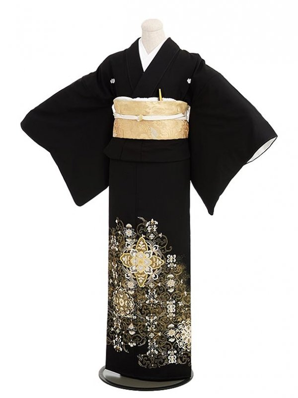 黒留袖レンタル5275山口美術織物花紋