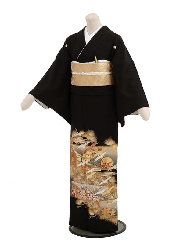黒留袖レンタル5248松竹梅飛鶴