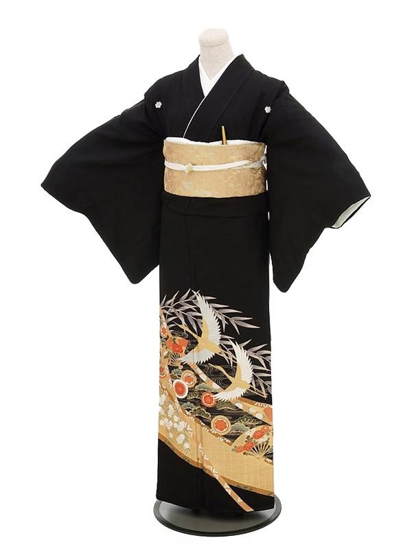 黒留袖レンタル5277鶴扇