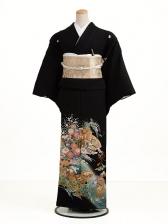 黒留袖レンタル5196グリーン花と貝