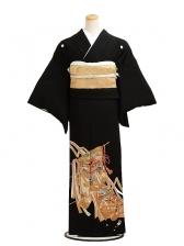 黒留袖レンタル5201衣桁に絵巻