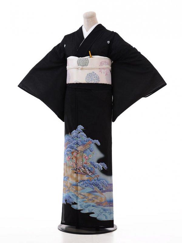 夏留袖Q5-76 ブルー 波に花車