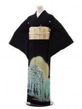 黒留袖5341桂由美 桜ちらしエメラルドグリーン