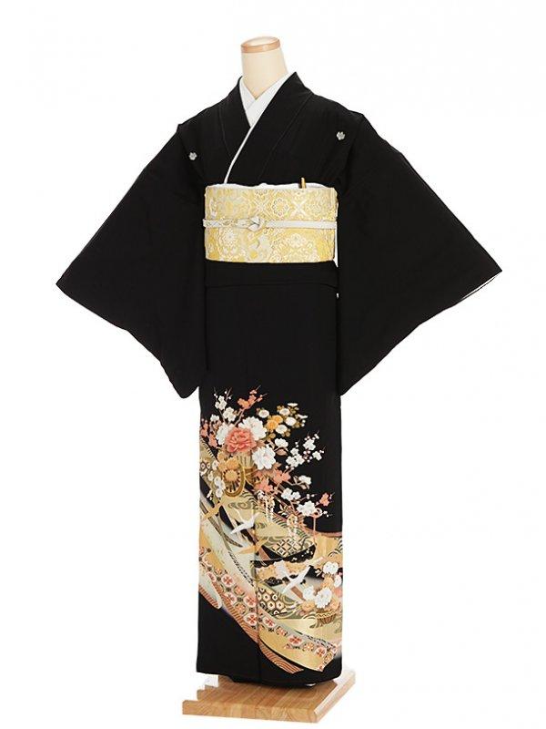 黒留袖レンタル5327花車に鶴