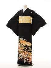 黒留袖レンタル5325 扇に鶴松