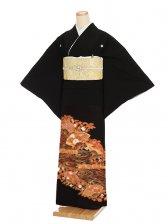 黒留袖レンタルQ5-60朱赤流れに扇
