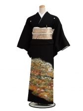 黒留袖5182日本庭園