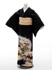 黒留袖レンタル5286寛斎松鶴菱錦図