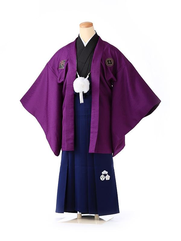 ジュニア男の子 羽織袴 紫×紺 松竹梅 1333