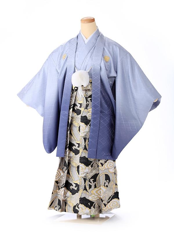 ジュニア男の子 紋付き袴 グレーボカシ 1330