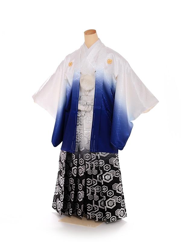 男の子 紋付袴 13歳 白 青グラデーショ FC1318