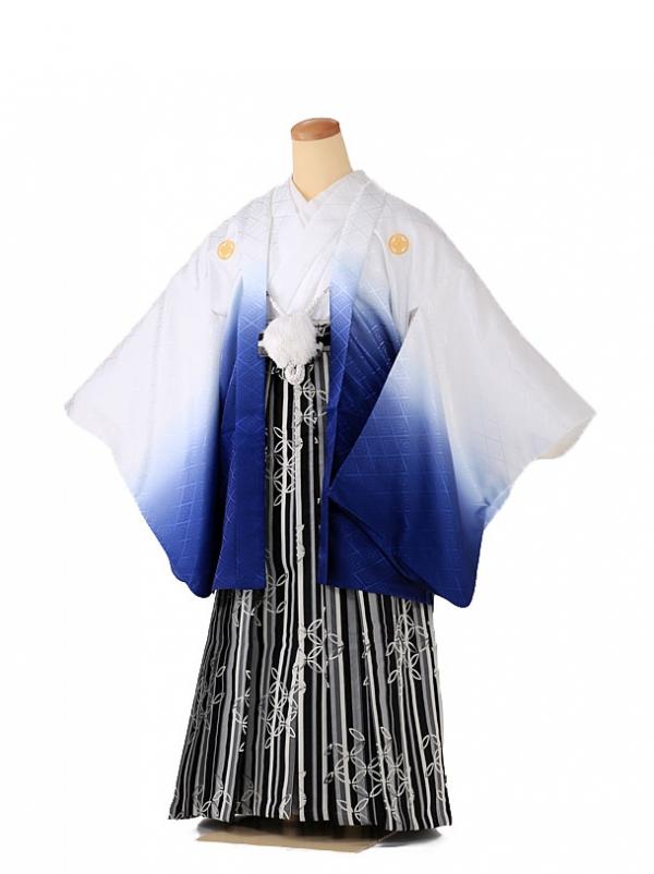 ジュニア男の子 羽織袴 白×青 ストライプ 七宝 1340