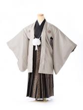 ジュニア男の子 紋付き袴 茶ストライプ 1328