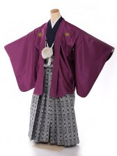ジュニア男の子紋付き花わらべ 紫×シルバー 1308