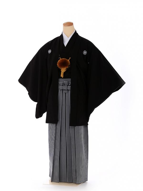男の子 紋付袴 13歳 黒 縞 FC1324