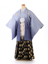 ジュニア男の子 羽織袴 グレー×白金 1336