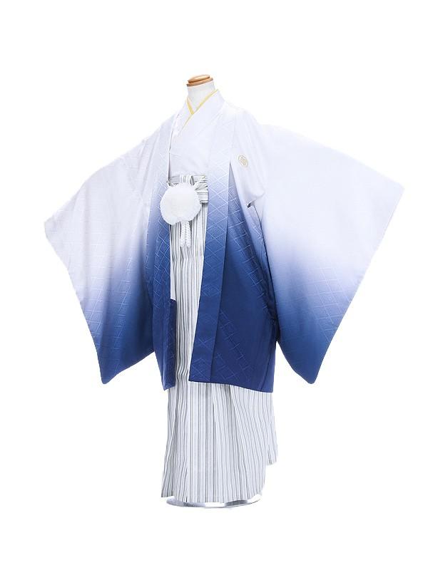 男の子10歳羽織白青ボカシ袴シルバー縞1303