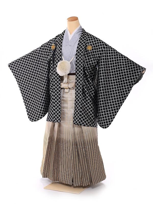 ジュニア男の子紋付き花わらべ 黒×金 1310